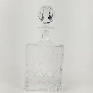 Crystal Vertical Scoop Cut Rectangular Whiskey Liquor Decanter w/ Stopper