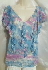 BANANA REPUBLIC LADIES RUFFLE FRONT SIZE SMALL BLOUSE- SHORT SLEEVE BLUE & PINK