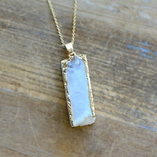 Square Column White Druzy Necklace Agate Pendant w/ 24K Gold Edge Plating Chain