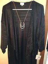 NWT LuLaRoe Large Solid Black Pleated Shirley Long Lightweight Duster Kimono