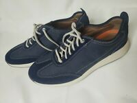 Clarks Unstructured Wave Walk Navy Blue Size 9 1/2 Wide Lace Up Leather/Nubuck