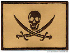 PIRATE FLAG iron-on PATCH JOLLY ROGER Skull Swords NEW - TAN SUBDUED MILITARY