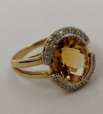14K YELLOW GOKD DIAMOND CITRINE RING