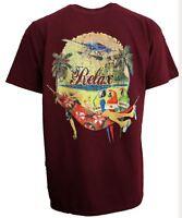 Mens Cotton Relax Hammock Parrots Beach T-Shirt Maroon Jimmy Buffett Parrotheads
