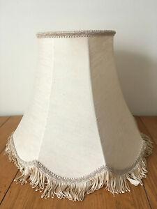 """Beige Scalloped Empire Lampshade Victorian Style Canvas Tassel Rope Brading 13"""""""