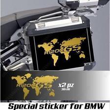 COPPIA ADESIVI MAPPAMONDO BMW R 1200 GS AC PLANISFERO PER VALIGIE ORO