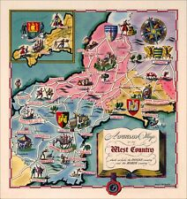 The West Country - pictorial map of south western England. Reproduction