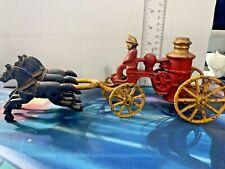 Vintage Cast Iron Toy Fireman 3 Horse Drawn Fire Engine Truck Wagon