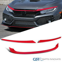 For 16-18 Honda Civic JDM Red T-R Type Front Bumper Hood Grille Trim 3PC