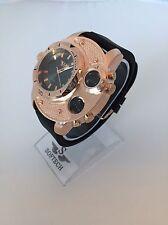 F&MJ729 Rose Gold & Black Mens Watches Gents Designer Softech Quartz Wrist Watch