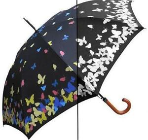 """46"""" Arc Auto Open Color Changing Butterfly Umbrella Wooden Hook Handle 35"""" long"""