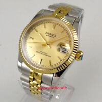 Luxury 36mm Parnis yellow gold dial Date 21 jewels Miyota automatic mens watch