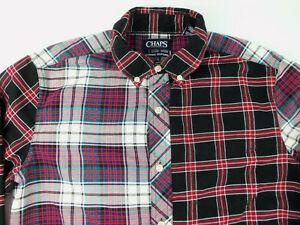 CHAPS Classic Oxford Black Red Green Plaid Patchwork Size S Small