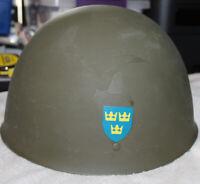 Swedish M37 Military Steel Helmet Vintage Nice Decals
