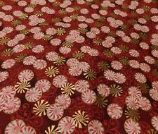 Christmas  !!Red, White And Metallic Gold Peppermint Candy Fabric   S B T Y