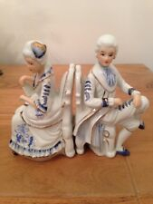 Bookends Figurine Carrier French Style Porcelain Crackleware Ceramic German