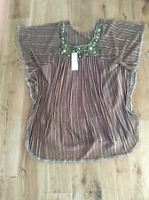 Brown Smocked Top With Croqchet And Embellished Neck. Size 12/14.