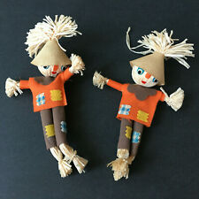2 Vintage 1960's Plush Scarecrow Fall/Halloween Home Decor Made In Japan