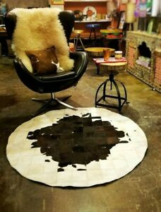 Cowhide Patchwork Rug Round 4x4 ft Concentric Design Cow Hide Print Skin Leather