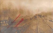 Train Wreck Scene Railroad Real Photo Antique Postcard (J29438)