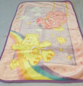 "Vintage Care Bears Baby Soft Blanket 29"" x 43.5"""