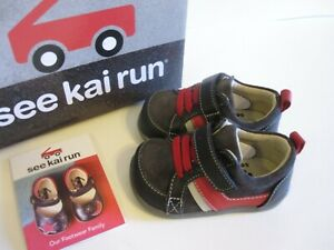 See Kai Run Baby Boy Leather Shoes Size 3 Black Gray Red EU 19