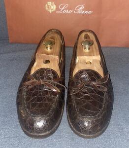 RALPH LAUREN POLO moccasin brown genuine alligator croc lace loafers 11D 11 D