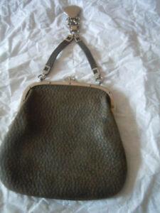 Vintage brown Victorian pebble leather chatelaine purse