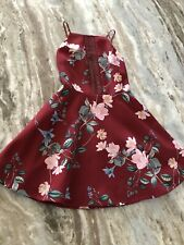 Keepsake The Label Maroon Floral Low Back Pocket Fit And Flare Dress Size Small