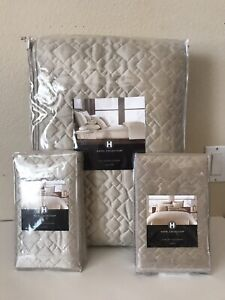 Hotel Collection Celestial Quilted Beige QUEEN Coverlet + 2 STANDARD Sham Set
