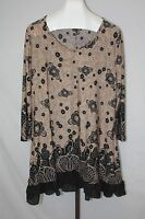 Simply Aster Womens Ladies 3/4 Sleeve Blouse Top Shirt Floral Beige Size 4