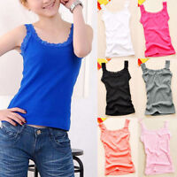 Stylish Casual Women Sleeveless Floral Lace Trim Tank Camisole Top Cotton Vest
