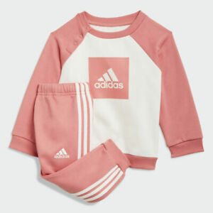 Kids adidas 3 Stripes Fleece Jogger Set Girls Tracksuit