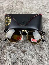 Ray Ban Clubmaster Sunglasses RB3016 Tortoise Gold Frame Amber Lens