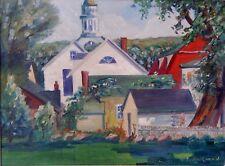"Harry Hickman Jr. ""Pennsylvania Townscape with Church"" c1950 (emlenton pa)"