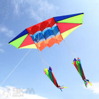 3D 8ft Radar Power Stunt Kite Single Line with Screw Tails for Kids Beginner Fun