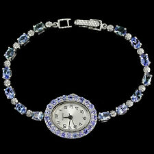 Sterling Silver 925 Genuine Natural Blue Violet Tanzanite Gemstone Watch 7.75 In