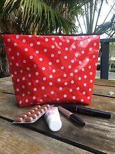 23 x 23 cm Ladies /Girls White Dot Semi Firm Vinyl Baby Change Bag , Make Up Bag