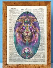 Psychedelic trippy art dictionary page art print vintage gift antique book J71
