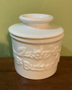 The Original Butter Bell Crock by L Tremain White Embossed Flowers Butter Beurre