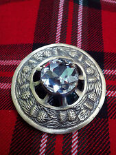 Christmas Gift Scottish Kilt Fly Plaid Brooch Thistle Design WHITE Antique 3""