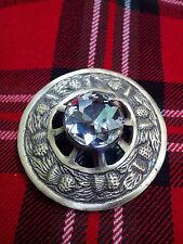 "TC Christmas Gift Scottish Kilt Fly Plaid Brooch Thistle Design WHITE Antique 3"""