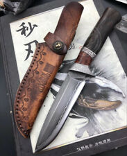 FORGED DAMASCUS SURVIVAL OUTDOOR CAMPING HUNTING KNIFE FIXED BLADE W/ SHEATH