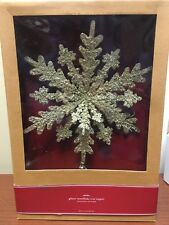 NEW Pottery Barn Gold Glitter Beads Snowflake Christmas Tree Topper in Box Metal