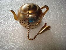UNIQUE VINTAGE MINI METAL GERMAN SILVER TEA POT GILDED TEA POT FOR TEA CUP