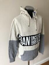 FRANKLIN AND MARSHALL LAB HOODY WITH LARGE LOGO GREY BLUE LARGE RRP £85 SALE