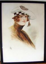 SMALL PORTRAITS ART DECO LADY IN CHECKERED HAT FRAMED  F SYKES W/COL C1925