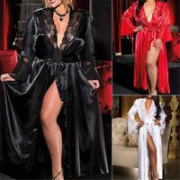 Women Long Silk Kimono Dressing Gown Bath Robe Babydoll Lingerie Nightdress neYF