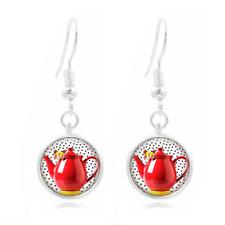 Pokka Dot Red glass Frea Earrings Art Photo Tibet silver Earring Jewelry #442