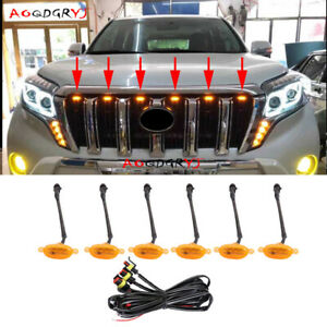 6X Raptor Style Amber Lens Grille LED Lights Fit For Prado FJ150 LC150 2014-2017